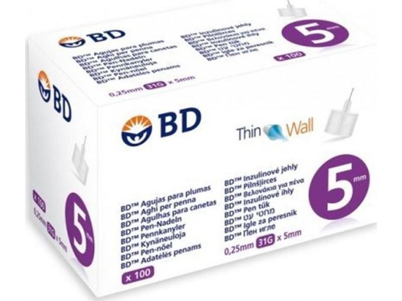 BD Micro-Fine Αποστειρωμένες Βελόνες Ινσουλίνης 5mm x 0.25mm(31G) 100τμχ