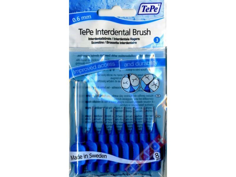 TePe Interdental Brush Μπλε Μέγεθος 3 - 0.6mm 8τμχ