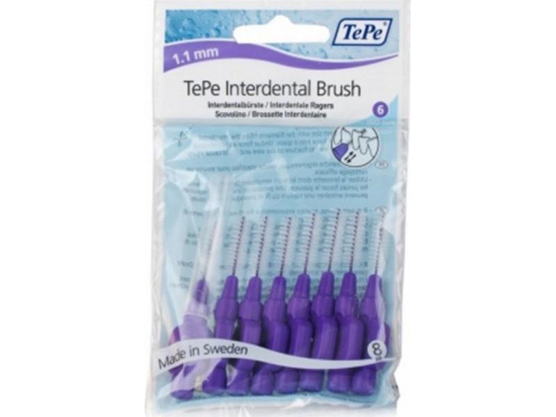 TePe Interdental Brush Μωβ Μέγεθος 6 - 1.1mm 8τμχ