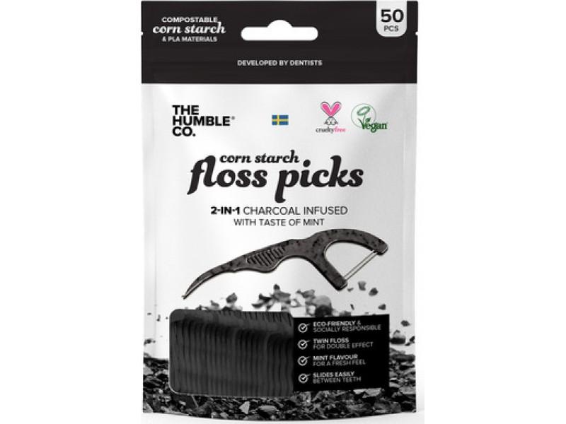 The Humble Co. Floss Picks - Charcoal 50τμχ