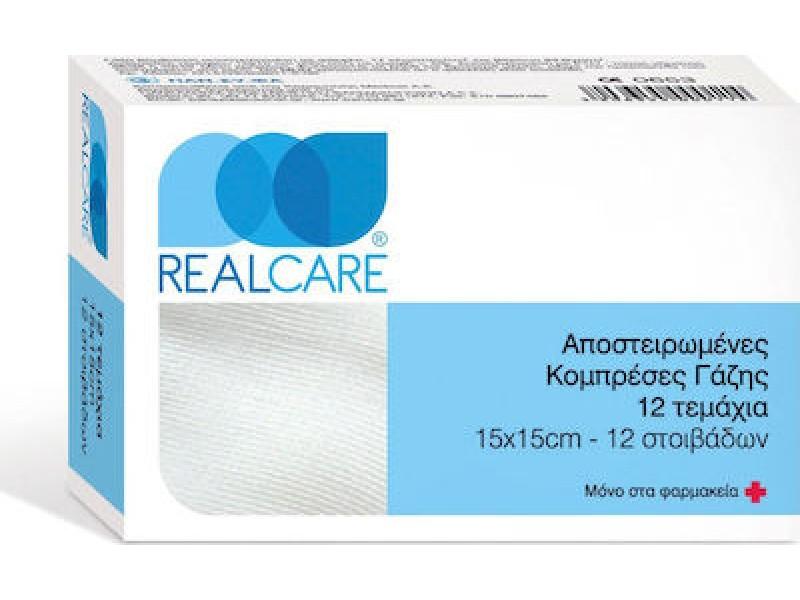 Real Care Αποστειρωμένες Κομπρέσες Γάζης 15 x 15cm 12 Τεμάχια
