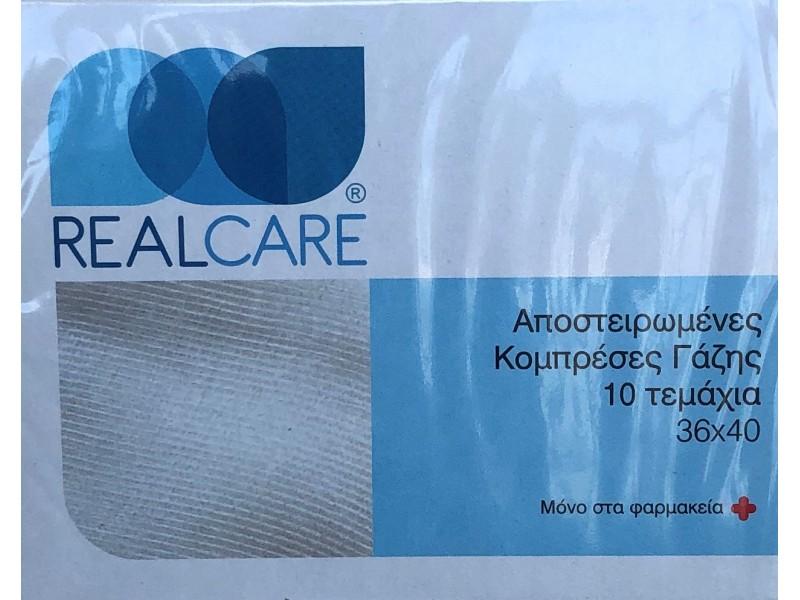Real Care Αποστειρωμένες Κομπρέσες Γάζης 36 x 40 cm 10 Τεμάχια