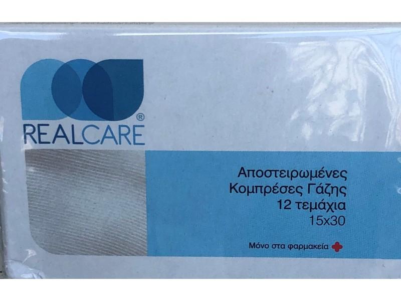 Real Care Αποστειρωμένες Κομπρέσες Γάζης 15 x 30 cm 12 Τεμάχια