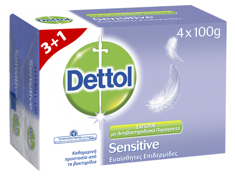 Dettol Σαπούνι για Ευαίσθητες Επιδερμίδες 100gr 3+1 ΔΩΡΟ