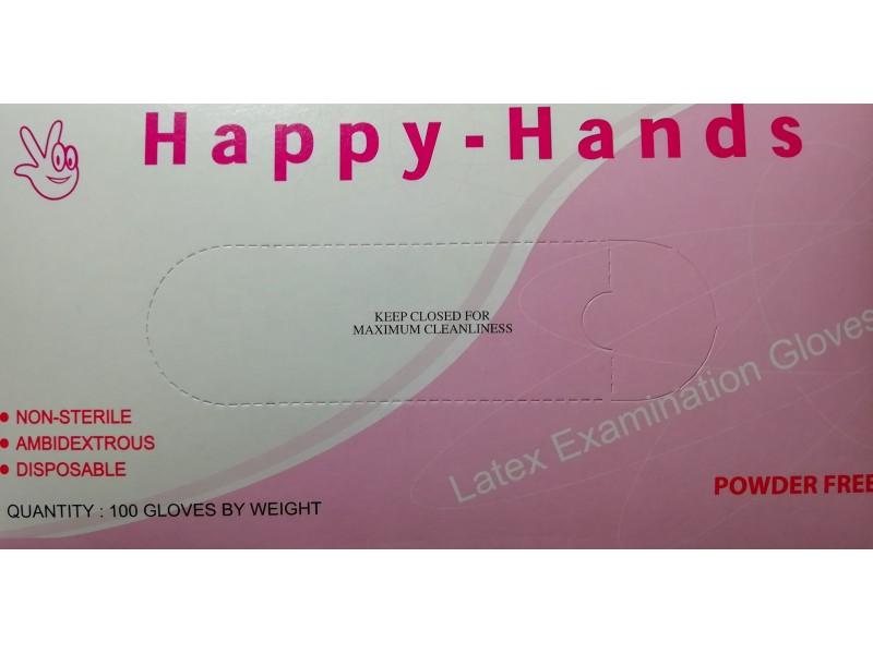 Happy-Hands Γάντια Λάτεξ Λευκά Χωρίς Πούδρα-Large