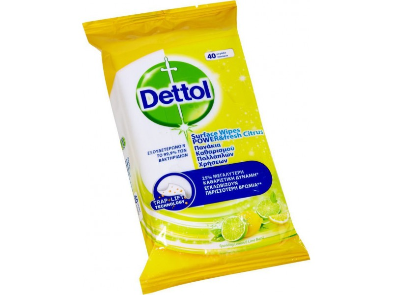 Dettol Power & Fresh Advance Lemon & Lime Απολυμαντικά Μαντηλάκια-40 τεμάχια