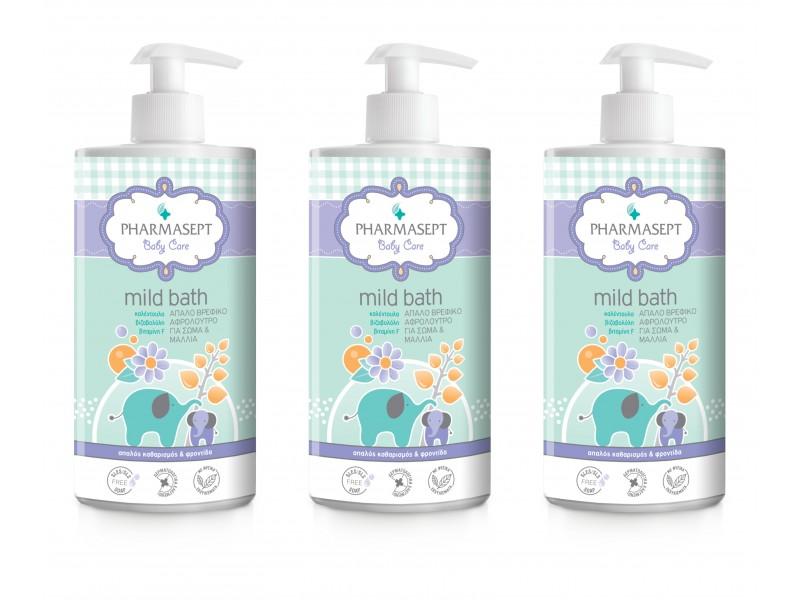 Pharmasept Baby Mild Bath 1Lt x 3 Τεμάχια