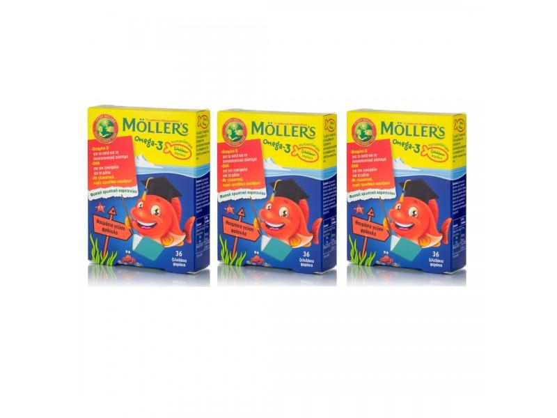 MOLLERS Omega 3 για Παιδιά-36 Zελεδάκια Φράουλα(ΠΑΚΕΤΟ 3 ΤΕΜΑΧΙΩΝ)