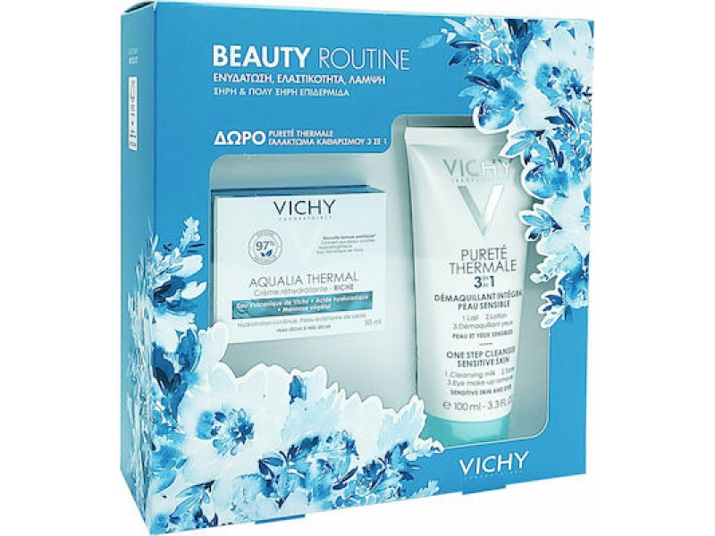 Vichy Beauty Routine Aqualia Thermal Rich Rehydrating Cream 50ml & Purete Thermale 3in1 100ml