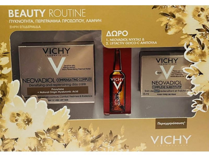 VICHY Neovadiol Compensating Complex - Dry to Very Dry 50ml,Night Cream 15ml & Liftactiv Glyco C 2ml