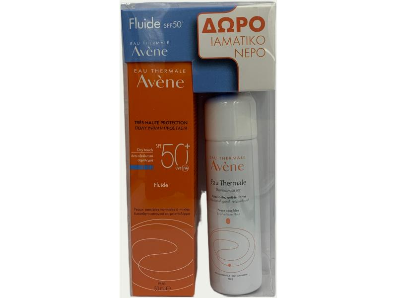 Avene Sun Solaire Dry Touch Fluid SPF 50+ 50ml+ΔΩΡΟ Eau Thermale Spray 50ml
