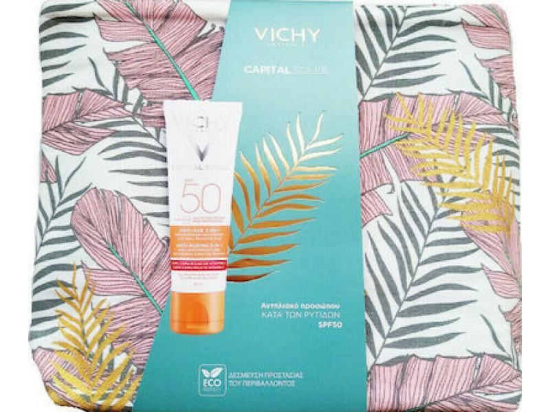 Vichy Capital Soleil Anti Ageing Set Capital Soleil SPF50 Anti-Ageing 3 in 1 Antioxidant Care 50ml & Νεσεσέρ