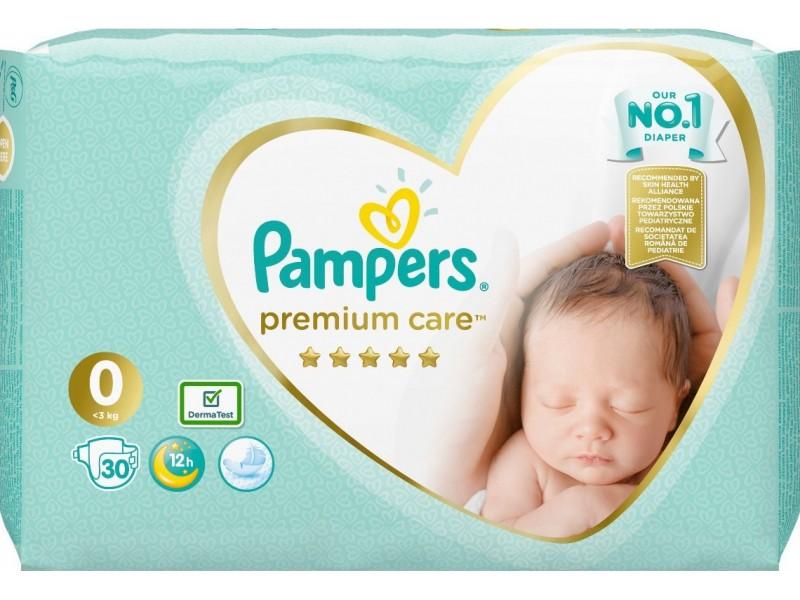 Pampers Premium Care No 0 (0-3Kg) 30τμχ