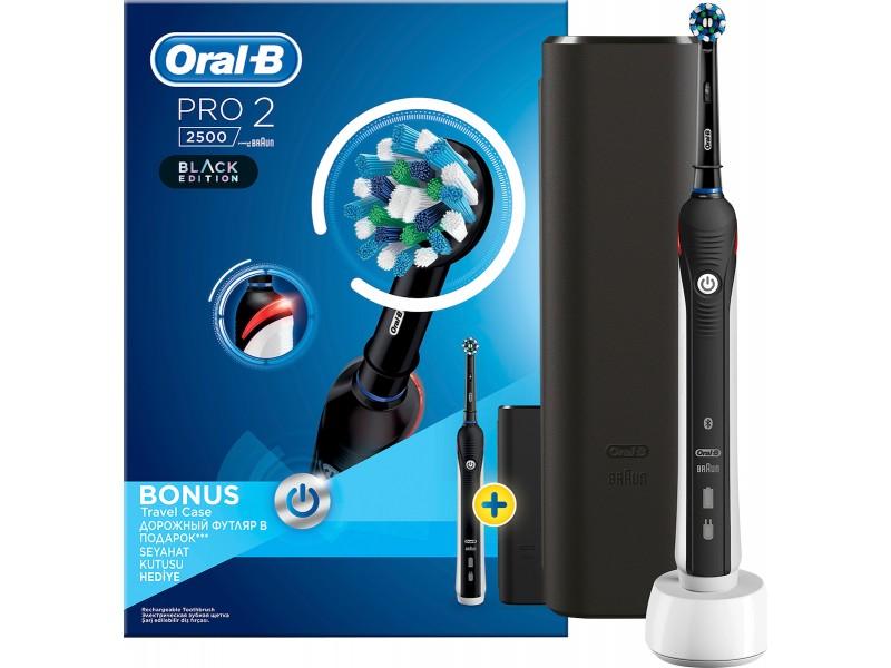 Oral-B Pro 2 2500 Design Edition Μαύρη & Θήκη Ταξιδίου