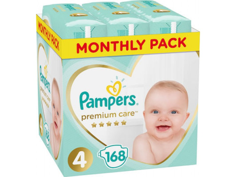 Pampers Premium Care No 4 (9-14kg) Monthly Box 168τμχ