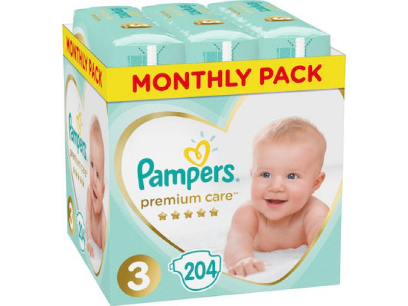 Pampers Premium Care No 3 (6-10 Kg) Monthly Box 204τμχ